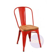 tolix red chairs with wooden seat - Google Search