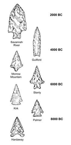 Changes in spear-point styles during the Archaic period in North Carolina ♣️Fosterginger.Pinterest.Com♠️ More Pins Like This One At FOSTERGINGER @ PINTEREST No Pin LimitsFollow Me on Instagram @  FOSTERGINGER75 and ART_TEXAS