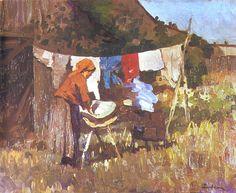 luchian-la-lavandera-pintores-y-pinturas-juan-carlos-boveri. Mary Cassatt, Pierre Auguste Renoir, Art Prints For Sale, Fine Art Prints, Claude Monet, Laundry Art, Laundry Lines, Laundry Room, Painting People