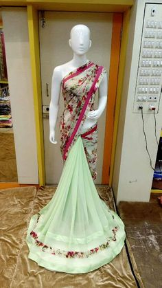 Georgette Saree With Embroidery Work | Buy Online Saree | Elegant Fashion Wear