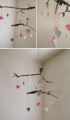 DIY Baby Twig Heart Mobile 35 Adorable and Stylish DIY Baby Mobiles