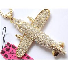 Betsey Johnson Necklace(NWT) Very pretty rhinestone airplane necklace, new in package Betsey Johnson Jewelry Necklaces
