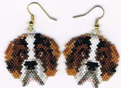 Hand Beaded St Bernard Dog earrings by beadfairy1 on Etsy