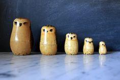 Vintage Owl Matryoshka Nesting Dolls.