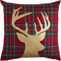 Pillows to make. With its plaid background and gold foil reindeer, our latest holiday pillow might be described as traditional glam. Or just plain beautiful. Making it even more brilliant? A hidden zipper. Tartan Christmas, Christmas Crafts, Christmas Decorations, Pier One Christmas, Christmas Bedding, Christmas Cushions, Sewing Pillows, Diy Pillows, Tartan Weihnachten