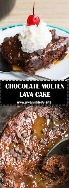 Quick and easy chocolate molten lava cake recipe, made with simple ingredients in crockpot. It's a lava cake with chocolate filling. Pudding Recipe For Kids, Easy Pudding Recipes, Lava Cake Recipes, Dessert Recipes, Dessert Ideas, Drink Recipes, Delicious Recipes, Breakfast Recipes, Desserts