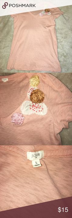 J Crew Embellished T Shirt Size Large In excellent condition can dress up or down.  Nonsmoking home & open to offers J. Crew Tops Tees - Short Sleeve