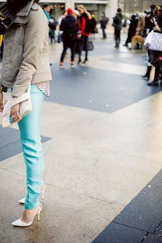 love the color of these pants? - try CAbi S13 Thin Mint Jeggings with the Shunken Peacoat #Spring #Fashion