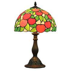 (EU Lager)D30cm Tiffany Tischleuchte Rote Apfel Design 1-flammig im Schlafzimmer