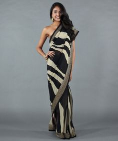 Zebra Print Saree with Beading, Luxemi.