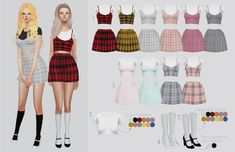 Clueless Set - Checkered outfits for The Sims 4