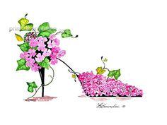 Shoe Print SHIPS FREE  Princess Pink Garden by brownleeartstudio, $15.00