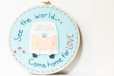 Great as graduation gifts!  VW Bus Hoop Art  Embroidery and Felt  by bluewithoutyoukids, $45.00