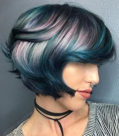 Teal Bob With Lavender Highlights