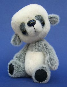 PDF pattern for Anime style panda bear Tofu, fully jointed miniature bear 4 inches tall