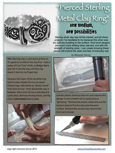 Pierced and soldered PMC sterling silver clay ring tutorial by Wanaree
