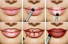 Lips full of make-up: this is how lip contouring and Lippen voller schminken: So gelingt es mit Lip-Contouring und Ombré-Lips! Full lips make up red light dark areas up - Lip Contouring, Contour Makeup, Beauty Makeup, Eye Makeup, Makeup Brushes, Makeup Geek, Daily Makeup, Makeup Pouch, Makeup Box