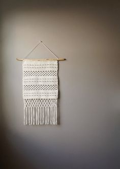Modern Cotton Tapestry / Bohemian Wall Hanging / Fringe Tapestry / Macrame Hand Woven / Cream Natural / Rustic Textile / Boho Home Décor