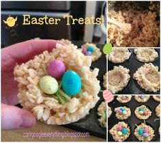 Rice Krispie Treat Easter Nests - My Mini Adventurer Easter Snacks, Easter Treats, Easter Recipes, Easter Desserts, Easter Food, Easter Cupcakes, Easter Dinner, Easter Party, Holiday Treats