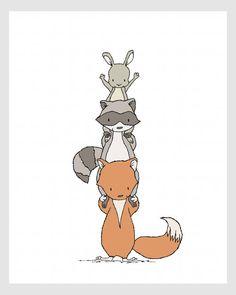 Woodland pépinière Art--Woodland Animal Stack--bois Decor--lapin, raton laveur, renard--enfants Art Print--Art mural