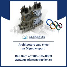 Did you know Architecture was once an Olympic sport? Between 1912 and the Olympic Games incorporated not only athletics but also art competitions, giving equal importance to works of architecture, painting, music, sculpture and literature. Olympic Sports, Olympic Games, Custom Home Builders, Custom Homes, North York, Art Competitions, Athletics, Luxury Homes, Building A House