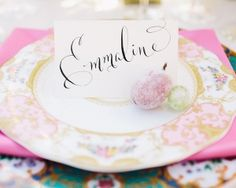 elegant calligraphy seating chart name cards - photo by Rachel May Photography