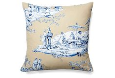 """Josephine 19x19 Cotton Pillow, Blue on OKL ($79 v. $120 retail; also in 12x16 for $59) Made of: cover, cotton; insert, feather/down Size: 19"""" x 19"""" Color: blue/beige Care: Machine-wash; tumble-dry on delicate cycle  """"Classic toile gives French flair to this beige and blue pillow, which is filled with a cozy blend of feather and down....From elegant toiles to Jouy to exuberant florals and stripes, Maison du Linge linens will add an infectious joie de vivre to your home."""""""