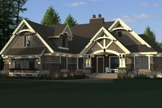 Craftsman Style House Plan - 4 Beds 3 Baths 2372 Sq/Ft Plan #51-572 Exterior - Front Elevation - Houseplans.com