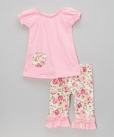 Another great find on #zulily! Pink Floral Pocket Top & Ruffle Pants - Infant & Toddler by Chicaboo #zulilyfinds