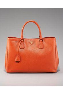 prada saffiano lux tote in orange