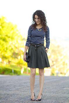 Blue stripes, olive green skirt