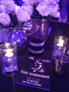 I made most of my own centerpieces using Krylon Mercury Glass paint (discontinued), rhinestone adhesive strips and candles and assorted pieces from Z Gallerie. Oh, I also designed the programs to go with our Old Hollywood themed wedding. :) #Weddinginspiration #centerpieces #silver #hollywood