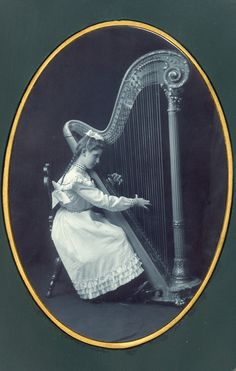 Girl Playing Large Harp