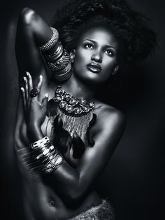 Beautiful African American Woman Wearing Jewelry Art Print by Maxim Images Prints. All prints are professionally printed, packaged, and shipped within 3 - 4 business days. Choose from multiple sizes and hundreds of frame and mat options. Black And White Portraits, Black And White Photography, Skin Girl, Poses References, Mädchen In Bikinis, Black Women Art, Art Women, Black Art, Beauty Portrait