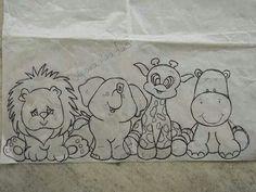 Embroidery Safari Animals... bebés safari, para pintar em tecido - Pesquisa do Google