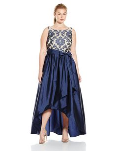 Amazon.com: Adrianna Papell Women's High Low Gown with Sequin Embroidered Bodice and Taffeta Skirt, Navy/Nude
