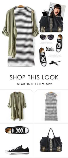 """""""Striped dress ⬇"""" by yexyka ❤ liked on Polyvore featuring moda, Converse, Sheinside i shein"""