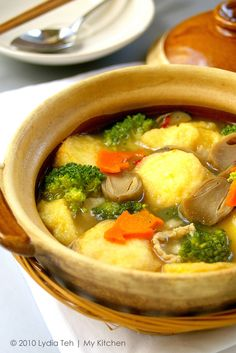 Today's quick lunch for J, claypot tofu cooked with Japanese egg-tofu. I personally do not like egg-tofu that much, find it too egg-y. In ge. Claypot Recipes, Tofu Recipes, Vegetable Recipes, Asian Recipes, Vegetarian Recipes, Cooking Recipes, Healthy Recipes, Chinese Recipes, Yummy Recipes