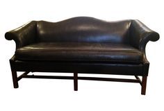 Black Leather Camelback Sofa Sofas Furniture One Kings Lane Decor City