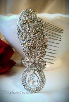 Bridal Hair Comb Art Deco Hair Comb Crystal Comb by MaCherieBridal, $57.99
