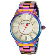 NEW Iridescent Betsey Johnson Watch New with tags and new in box! This gorgeous Betsey Johnson watch is all around iridescent and a coke of metal material. The face of the watch has rhinestones on each number. All of the links are on the watch and you can always adjust according to your wrist size. The battery has never been used yet. You still need to remove the plastic!! The second hand is pink and has a pretty heart.  Original price is $135! Betsey Johnson Accessories Watches
