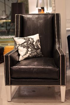black and white wing chair
