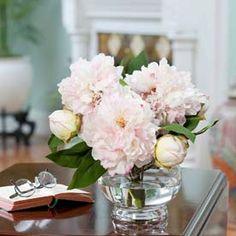 OfficeScapesDirect Small Peony Centerpiece Silk Flower Arrangement - Pink