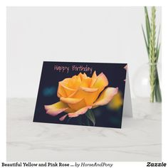 Unique Birthday Cards, Happy Birthday Cards, Happy Birthday Beautiful, Custom Greeting Cards, Thoughtful Gifts, Yellow, My Love, Rose, Prints