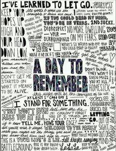 A Day to Remember lyrics. I Love Music, Music Is Life, Good Music, My Music, Music Lyrics Art, Indie Music, Band Quotes, Lyric Quotes, Adtr Lyrics