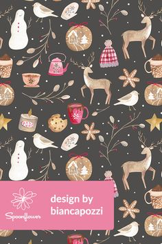 Cozy Snow Day Design by biancapozzi - Hand painted winter design with fabric, wallpaper, and gift wrap.  Beautiful illustration with snowmen, birds, mittens, mugs, deer, and plants.  #design #winter #snow #birds #illustration #surfacedesign