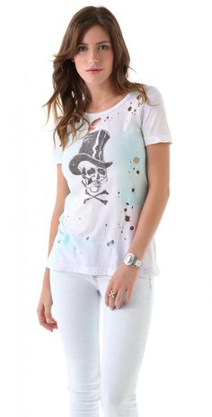 Chaser Top Hat Skull Destroyed Slouchy Tee T Shirt