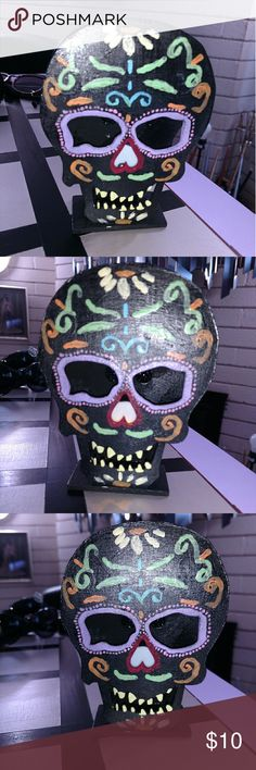 Sugar skull/ day of the dead decor candle Hand painted sugar skull/day of the dead decorative fake candle.  Could be hung up or set on a table for added decor to any room for any skull fan 😊💀☠ Other