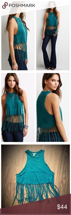 """Forever 21 Teal raw cut sleeveless fringe top Same day shipping (as long as P.O. is open for business). ❤ Measurements are approximate. Descriptions are accurate to the best of my knowledge.  Rocker meets boho in this cotton raw cut sleeveless fringe top. Beautiful teal/green color crafted from soft cotton knit that's been brushed for a well-worn feel. The material tag has been removed but size tag (medium) is in tact. Flat measurements: 19.5"""" chest, 27"""" total length, 18.5"""" to beginning of…"""