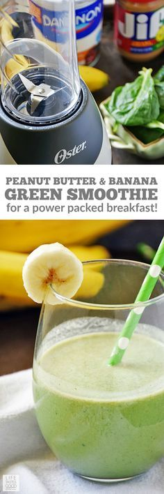 Loaded with good-for-you stuff, my favorite Green Smoothie recipe combines peanut butter and banana with yogurt, milk, & spinach for a power packed breakfast or super-charged snack. #LTGrecipes #ad #MySmoothie